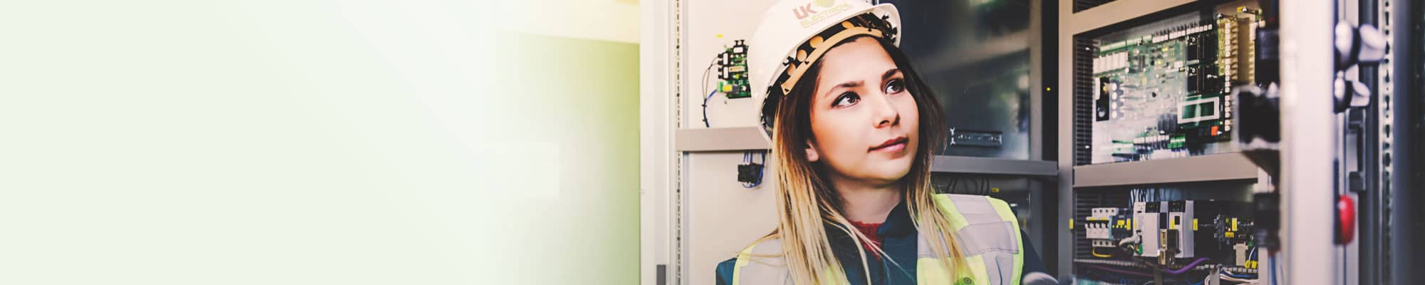 Female UK Electrical staff member working on-site