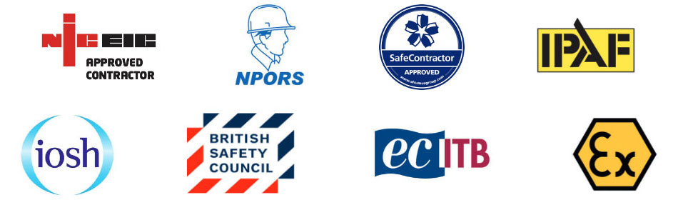 NICEIC Approved Contractor, NPORS, Safe Contractor Approved, IPAF, IOSH, British Safety Council, ECITB, Ex