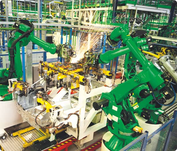 Manufacturing robots at factory